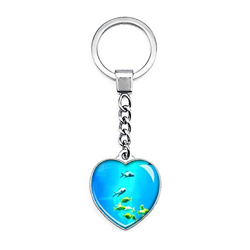 USA Amerika Aquarium Baltimore Schlüsselanhänger Kreativ Doppelseitig Herz Form Kristall Schlüsselanhänger Reise Souvenir Metall