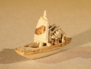 Bonsai Boy's Ceramic Miniature Sampan Figurine Small Size
