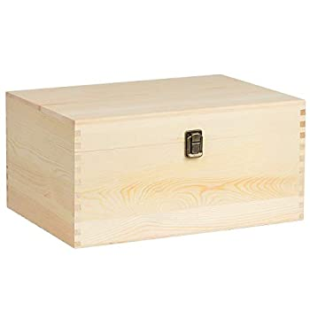 KINGCRAFT Extra Large Rectangle Unfinished Pine Wood Box Natural DIY Craft Stash Boxes with Hinged Lid and Front Clasp for Arts Hobbies and Home Storage-13.8x9.9x6.7 Inches