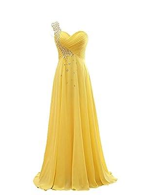 NOVIA Women's One Shoulder Long Chiffon Prom Bridesmaid Evening Dresses Yellow 20W