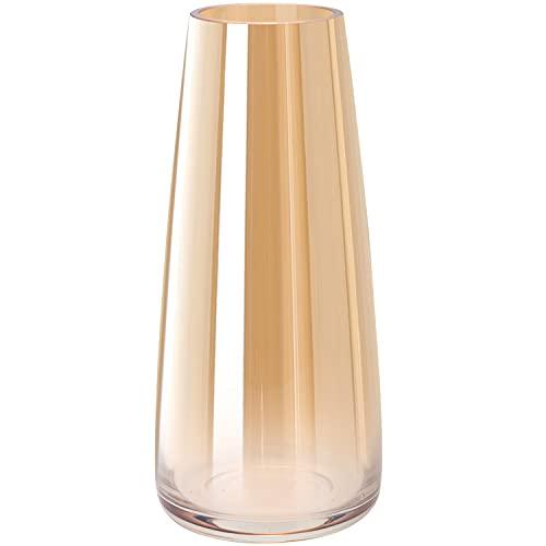 Vase aus Glas, Hoch Klarglas Konische Vasen, Blumenvase Dekorative mit Massivem Eisboden, Ins Style handgemachte kristall Glasvase Vase Behälter für Home Office Dekor, 10x6.5x22CM, Glasiertes Gold