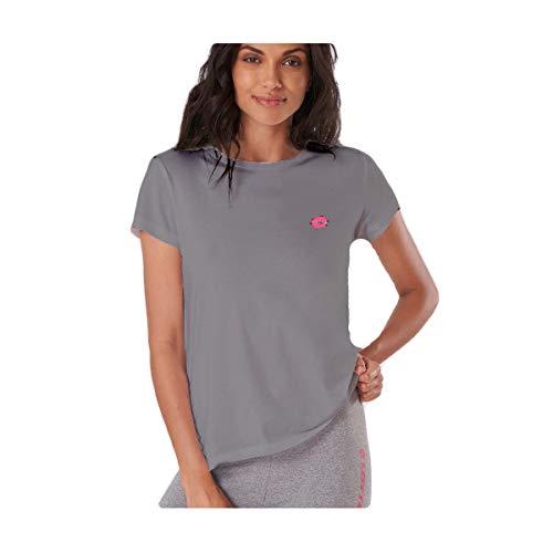 Lotto - Camiseta de mujer de media manga de verano corta, LA1011, para el tiempo libre, gimnasio, fitness, running, yoga, pijama Mezcla de grises L
