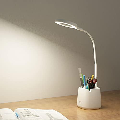 0℃ Outdoor Lámpara de Escritorio LED con Puerto de Carga USB, luz Nocturna, lámpara de Escritorio con atenuación Continua, Lámpara con Portalápices para Trabajo, Leer, Estudiar, Niños, Protege a Ojos