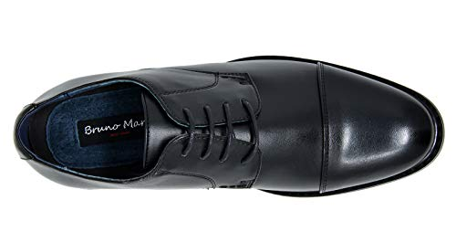 Bruno MARC PRINCE-6 Men's Oxford Modern Classic Brogue Lace Up Leather Lined Perforated Dress Oxfords Shoes Black Size 8