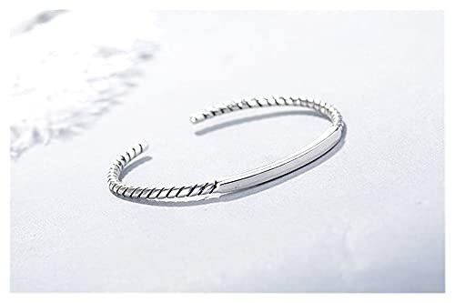 Wh1t3zZ1 Pulsera Mujer 925 Sterling Silver Fashion Simple Geometry Bangles Brazalete Pulsera Pareja Partido Pulsera Joyería Ajustable para Mujeres