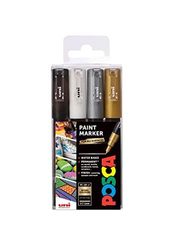 """POSCA 153544850 PC-1M """"Paint in a Pen""""-Mono-Set, 1 mm dünne Spitze, wasserbasierte Filzstifte, 4 Farben"""