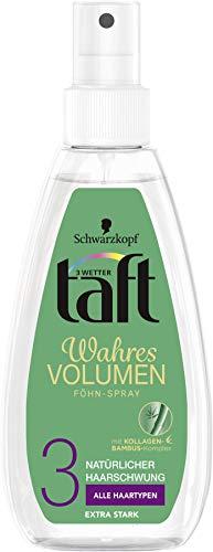 Schwarzkopf 3 Wetter taft Haarspray Wahres Volumen Föhnspray extra starker Halt 3, 5er Pack (5 x 150 ml)