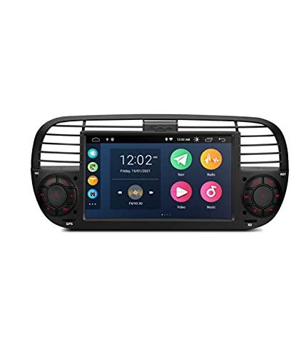 ESTOCK1 ANDROID 10.0 autoradio navigatore per Fiat 500 Fiat Abarth 500 2007-2015 Carplay wi-fi GPS 7  USB WI-FI Bluetooth Mirrorlink color Nero CAR TABLET wi-fi radio