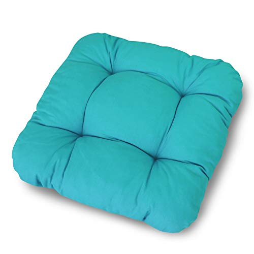 LILENO HOME 4er Set Stuhlkissen Türkis (38x38x8 cm) - Sitzkissen für Gartenstuhl, Küche oder Esszimmerstuhl - Bequeme UV-beständige Indoor u. Outdoor Stuhlauflage als Stuhl Kissen