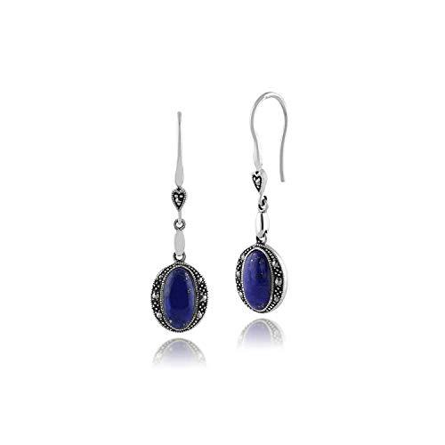 Gemondo Plata de Ley 925 2ct Lapis Lazuli y Marcasita Art Deco Pendientes