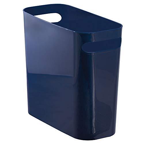 mDesign Mülleimer mit Griffen - ideal als Abfalleimer oder als einfacher Papierkorb - robuster Kunststoff - für Küche, Bad und Büro - modernes Design und 5,6 l Volumen  -  marineblau