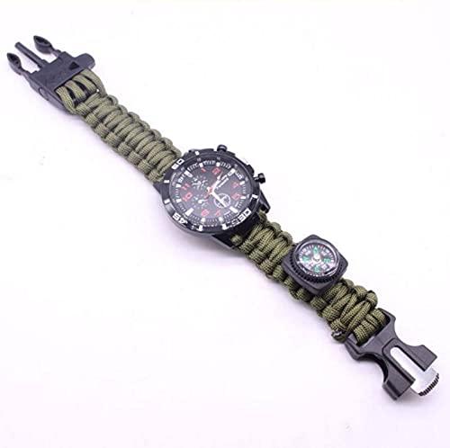 AOOF Reloj de supervivencia 6 en 1, relojes de supervivencia de emergencia con paracaídas, silbato, arrancador de fuego, raspador, brújula y equipo de supervivencia