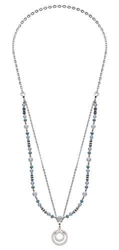 Jewels by Leonardo DARLIN'S Damen-Halskette Misano, Edelstahl mit Glasperlen und Zirkonia, Clip & Mix System, Länge 880 mm, 016692
