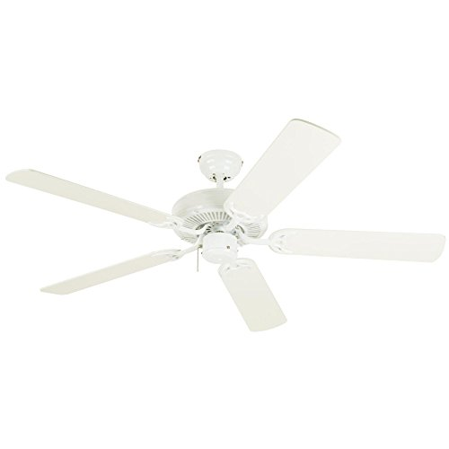 Westinghouse Lighting 7802400 Downrod Mount, 5 White Blades Ceiling fan, White