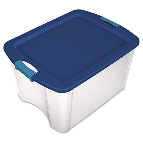 Sterilite 18 Gallon Plastic Portable Storage Container Tote Box with Latching Lid (12 Pack)
