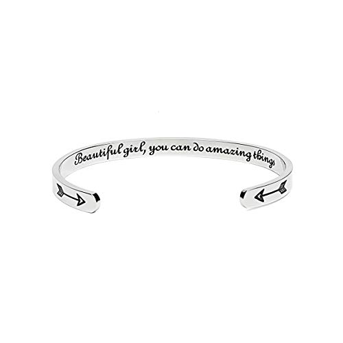 Inspirational Bracelets for Women Mom Personalized Gift for Her Engraved Mantra Cuff Bangle Crown Birthday Jewelry (Beautiful girl, you can do amazing things)