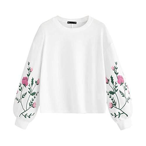 Moda Sudaderas Jersey Sweater Sudaderas con Capucha Básicas Sudadera Mujer O-Cuello Manga Larga Botánico Estampado Floral Manga Pullovers Sudadera Top M Blanco