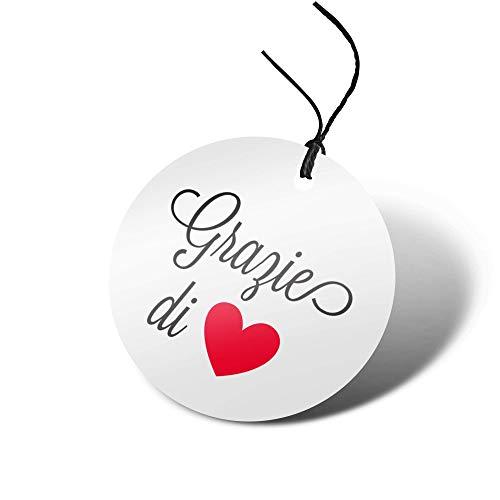 72 Etichette Cartellini Bigliettini Bomboniera Battesimo Matrimonio Grazie di Cuore