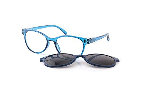 Michael Pachleitner Group Premium Female Clip-Lesehilfe mit Sonnenschutzclip und Federscharnier inklusive Etui, blau / +2.5 Dioptrien