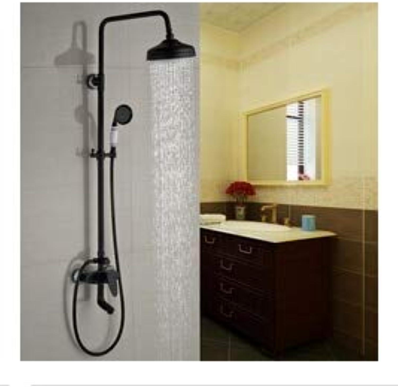 Gute Qualitt Single Handle Swivel Badewanne Dusche Wasserhahn Set Wandhalterung 8 Messing Duschkopf mit Handbrause, schwarz