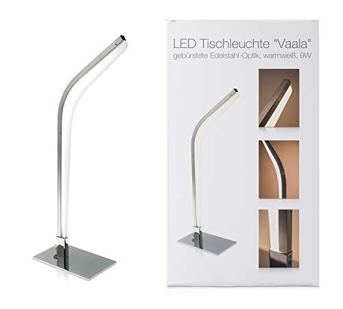 LED Universum Lampe de table LED moderne Vaala : en aluminium aspect chromé brillant et plastique opale, 9 W, blanc chaud (3000 K), 47 x 20 x 5 cm, pour salon, chambre à coucher, bureau