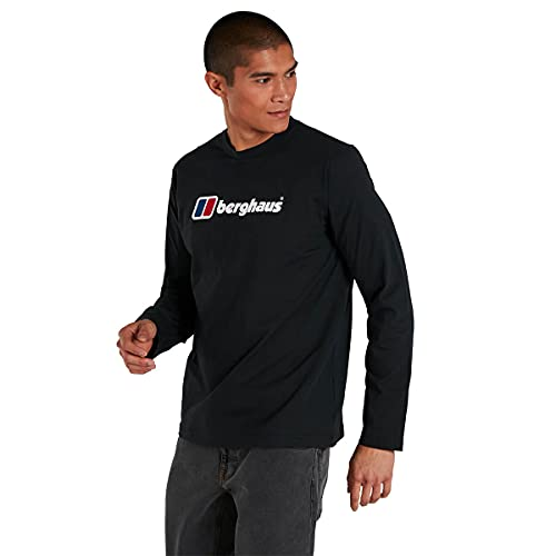 Berghaus Organic Big Logo Long Sleeve T-Shirt, Jet Black, M para Hombre