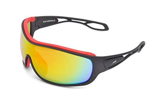 Gamswild WS3332 Sonnenbrille Fahrradbrille Skibrille Damen Herren Unisex | blau | rot | weiß, Farbe: Rot