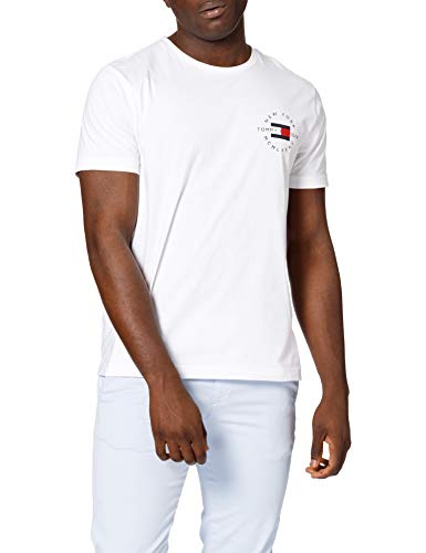 Tommy Hilfiger Circle Chest Corp Tee T-Shirt, Blanc, S Homme