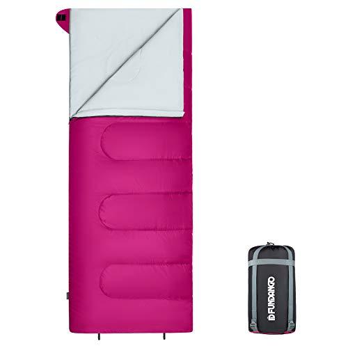 FUNDANGO Saco de Dormir cálido de 3 a 4 Estaciones Rectangular Compacto Ligero Resistente al Agua para Adultos y niños Equipo de Camping Senderismo Viajes y Actividades al Aire Libre