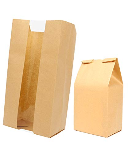 Aosheng 50 PCS Brown Kraft Paper Bread Loaf Bag Lunch Food Packaging Storage Clear Windown Design Bakery Bag (4.72 X 3.54 X 11.81 Inch)
