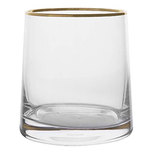 Verres Verre coloré verre à whisky tasse tasse à thé thé au lait boisson tasse à jus tasse en cristal (Color : Golden rim, Size : A)