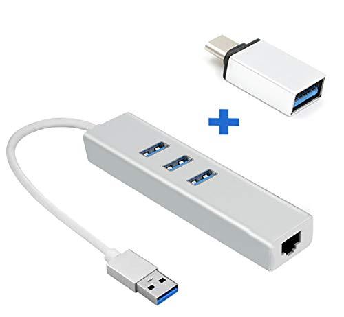 Golvery Adattatore Ethernet USB con Porte USB 3.0 Tipo C e 3, Adattatore di Rete Gigabit, Adattatore LAN Ethernet da C a RJ45, Gigabit Dongle per MacBook, MacOS, Chrome OS, Win 10, Linux