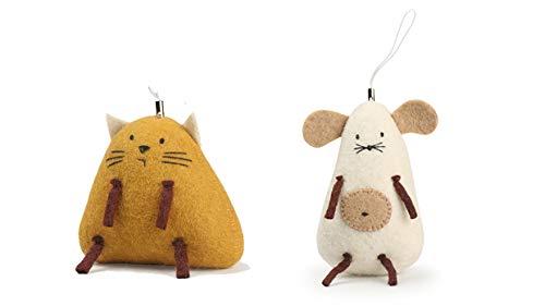 Tumar - Juego de 2 Figuras de Gato y ratón de Fieltro Natural, Hechas a Mano