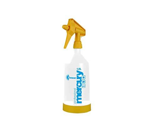 Kwazar Mercury Super PRO+ Sprühflasche mit VITON Dichtung gelb Sprühflasche 1,0 Liter weiß/gelb, 10,4 x 10,4 x 35 cm Einstellbarer Sprühnebel, sicherer Stand