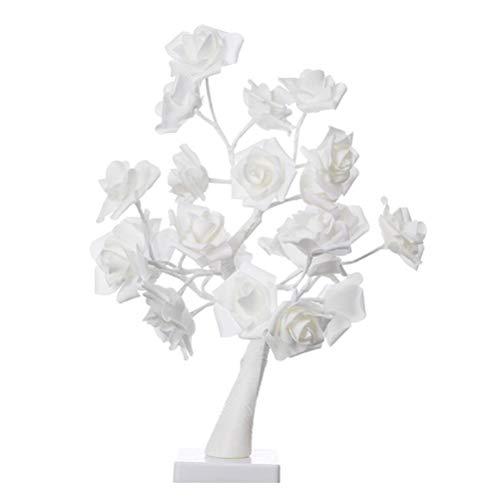 Lámpara de Mesa Flor Rosa lámpara de árbol de Mesa Escritorio DIY decoración de luz Artificial para el hogar, Dormitorio, decoración de Escritorio (Blanco)
