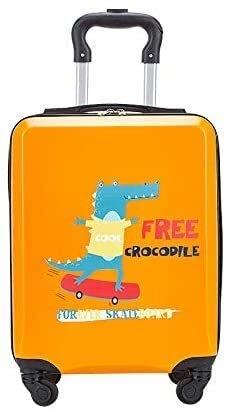 Children's Luggage Children's Trolley case Solid Color Suitcase Password Universal Wheel Boarding case Orange 18 inch