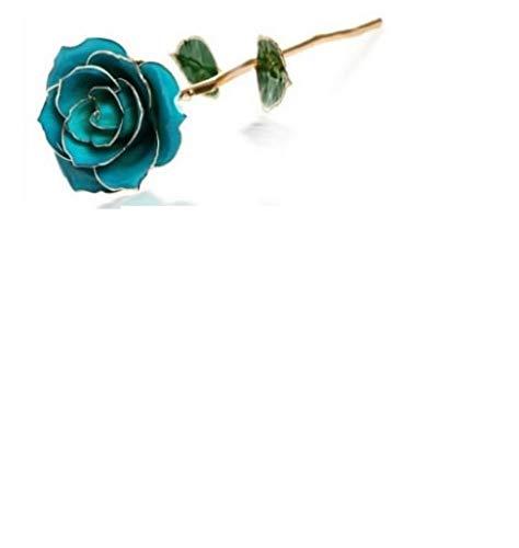 Flor de inmersión de tallo largo de 24 k de oro rosa en caja de regalo con soporte para la fiesta de la Madre/Acción de Gracias/San Valentín/Cumpleaños/Bodas (Rosa azul claro con soporte)