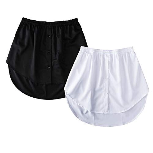 Frauen Damen Fake Falsches Hemd Schwanz Bluse Saum Rock Eleganter Unterrock Sweatshirt Abnehmbarer Mini A-Linie Halber Rock (Schwarz + Weiß, XXXL)