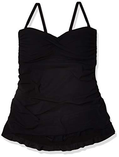 Profile by Gottex Women's Plus-Size Classic Bandeau Swimdress One Piece Swimsuit, Tutti Frutti Black, 24W