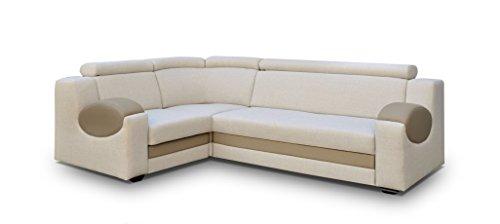 große Ecksofa Sofa Eckcouch Couch mit Schlaffunktion und Bettkasten Ottomane L-Form Schlafsofa Bettsofa Polstergarnitur - PARIS (Ecksofa Links, Creme)