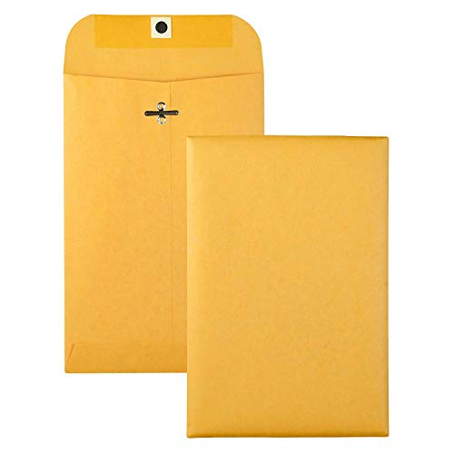 Brown Kraft Catalog Clasp Envelopes with Clasp Closure & Gummed Seal, 28lb Heavyweight Paper Envelopes, Great for Filing, Storing Or Mailing Documents, 10 Envelopes (6.5 x 9.5)