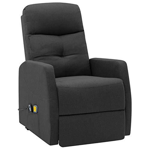 Tidyard Sillones y chaises Longues Sillón reclinable butaca de Masaje de Tela Gris Oscuro