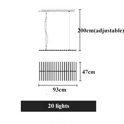 QPLNTCQ LED LOFT Piano Wave-LED Pendelleuchten Bambus Form Rippen Dimming Jahrgang Licht In Led Restaurant Büro-Kunst-Lampe (Body Color : 20 Heads 97x47cm, Size : Remote)