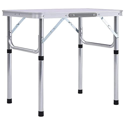 vidaXL Campingtisch Klappbar Klapptisch Koffertisch Gartentisch Falttisch Partytisch Picknicktisch Aluminiumtisch Weiß Aluminium 60x45cm