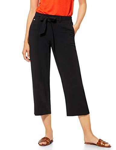 Street One Damen 373198 Emee Wide Leg Hose, Black, W34/L26