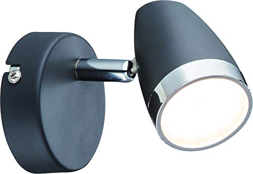 DM Leuchten Lámpara de pared LED orientable 1 foco, incluye 1 bombilla de 4 W, luz blanca cálida, lámpara de pared LED, foco de luz LED, antracita