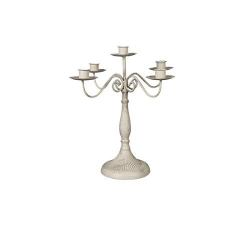 ZHKXBG Metalen kandelaar met 1, 3 of 5 arm-barok stijl - voor bruiloften, feesten, thuis of tuin, enz, wit, L