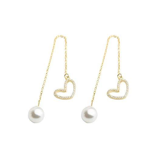 SFQRYP Nuevo Colgante de Perlas clásico Peluche corazón Amor Modelado Moda Joyería Coreana para Mujer Pendientes Colgantes de la Chica de Fiesta (Metal Color : Gold Color)