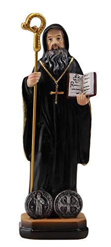 Woodington's San Benito Protección Benedictina de resina coloreada de 5 pulgadas pequeña estatua