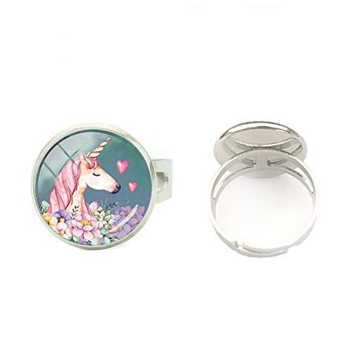 Anillos de plata redondos de cristal pintados a mano con diseño de unicornio y flor
